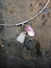 Contemporary Industrial Jewelry Wampum Shell & Stone Necklace