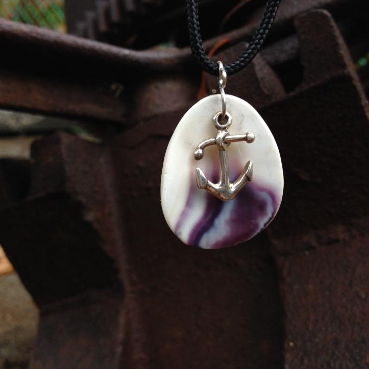 Nautical Wampum & Anchor Boat Life Pendant Necklace